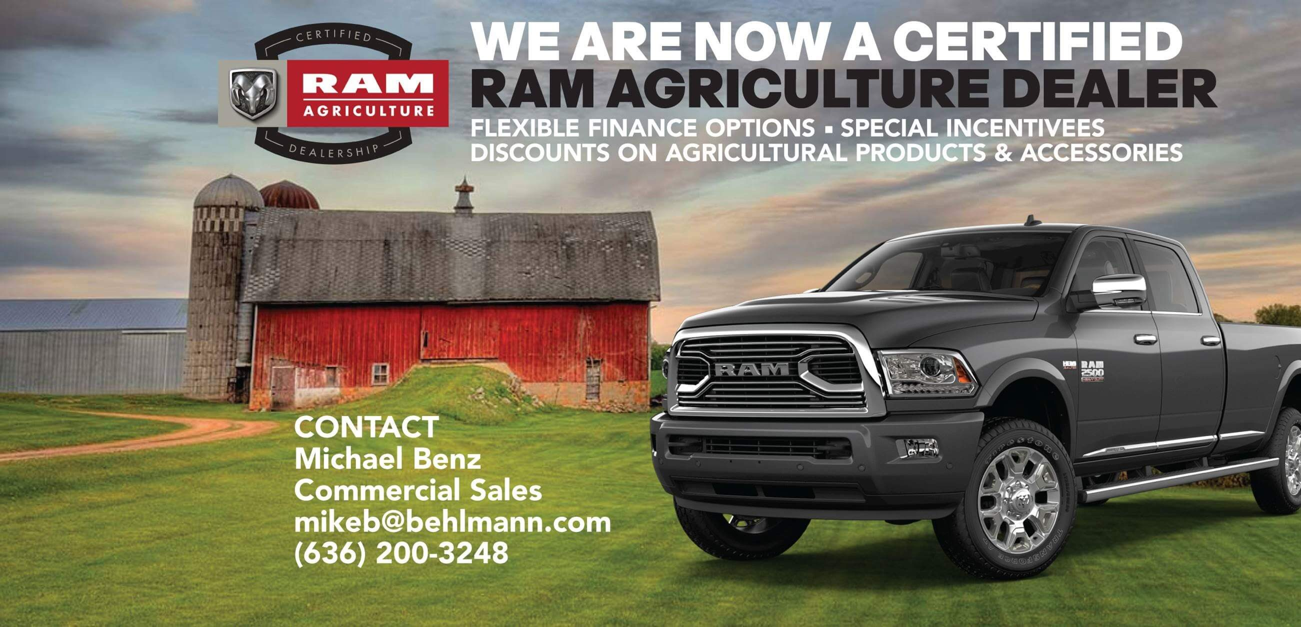 Behlmann CDJR is now a Certified Ram Agriculture Dealer.